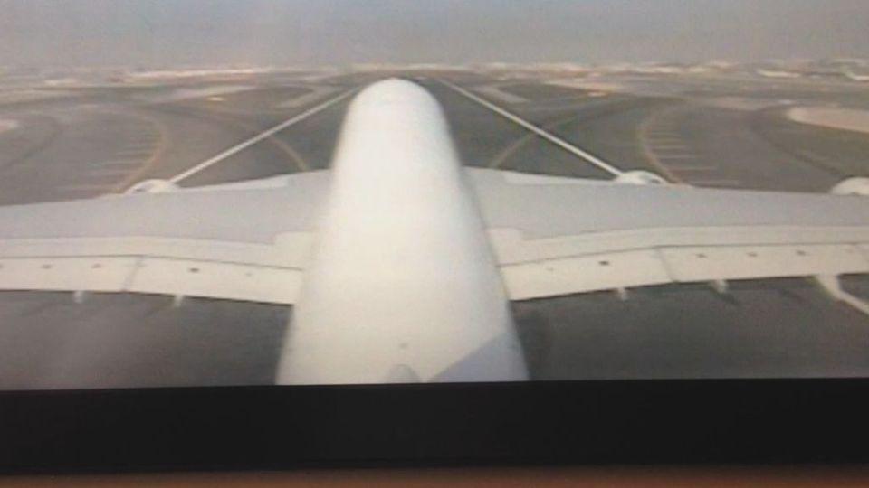 Coole Aufnahmen der Heckkamera eines Airbus A-380!