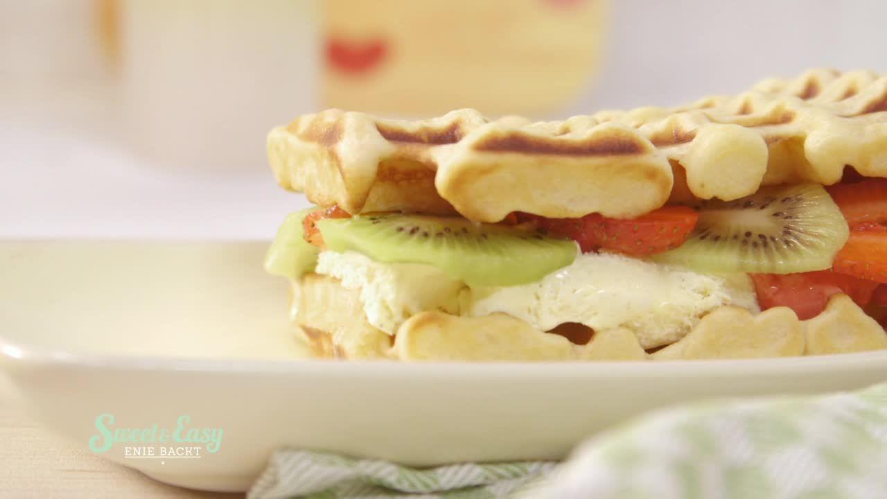 Süßes Waffel-Sandwich
